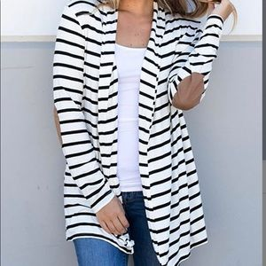 White stripe elbow patch cardigan